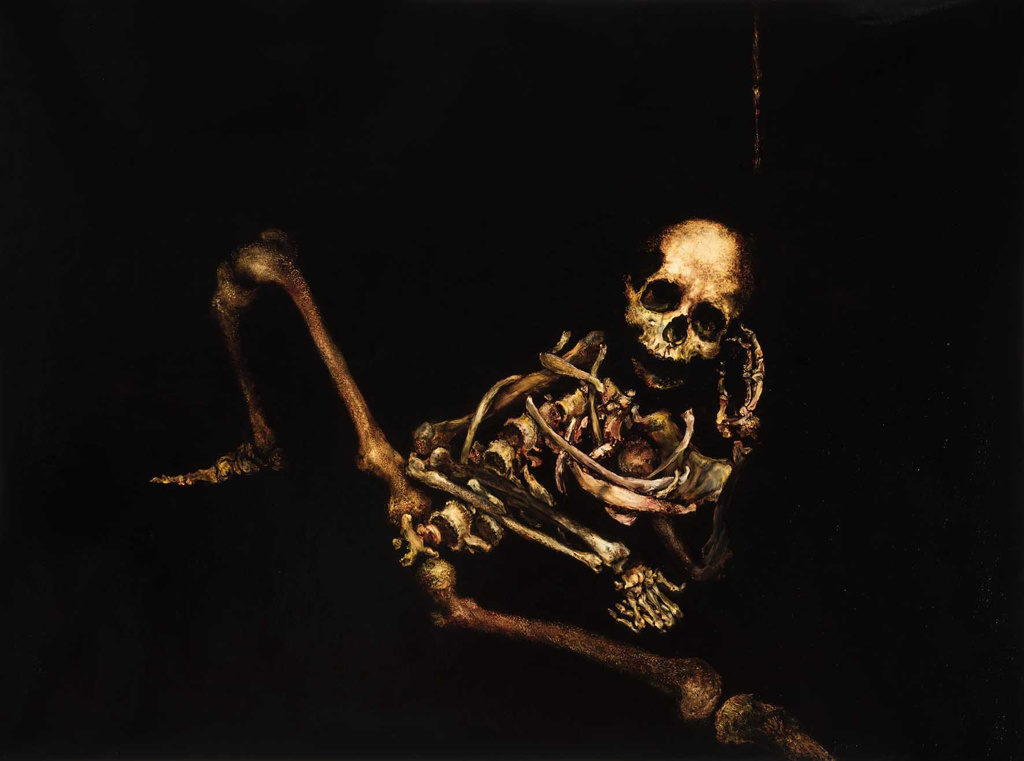 skeleton oil painting on linen