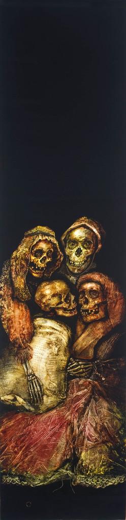 four skeletons hugging on black canvas