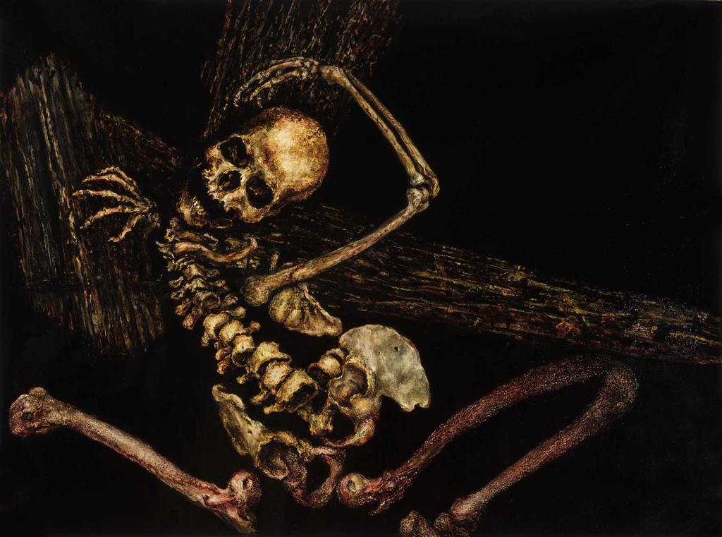skeleton oil painting on linen