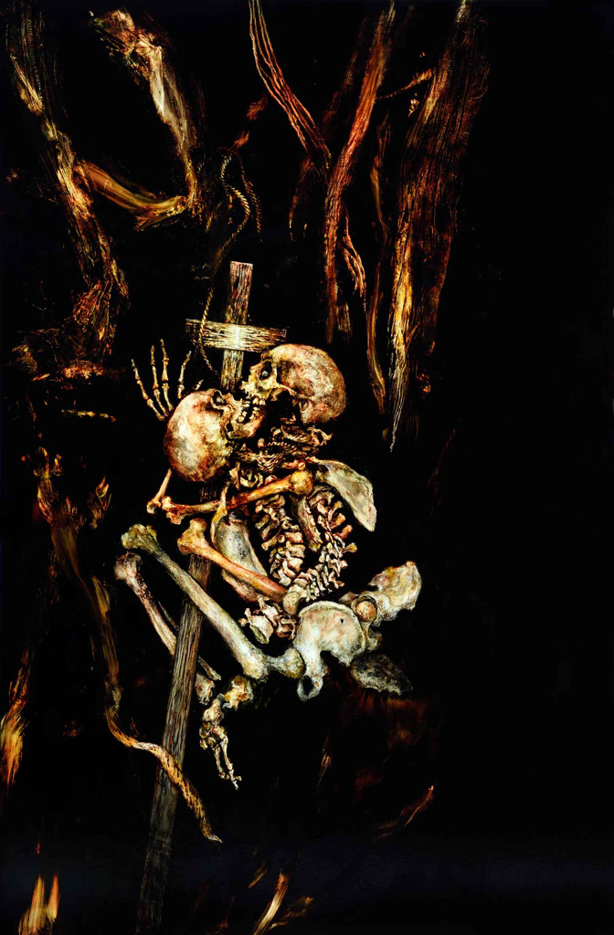 skeleton oil painting on linen from the collection 10 commandments