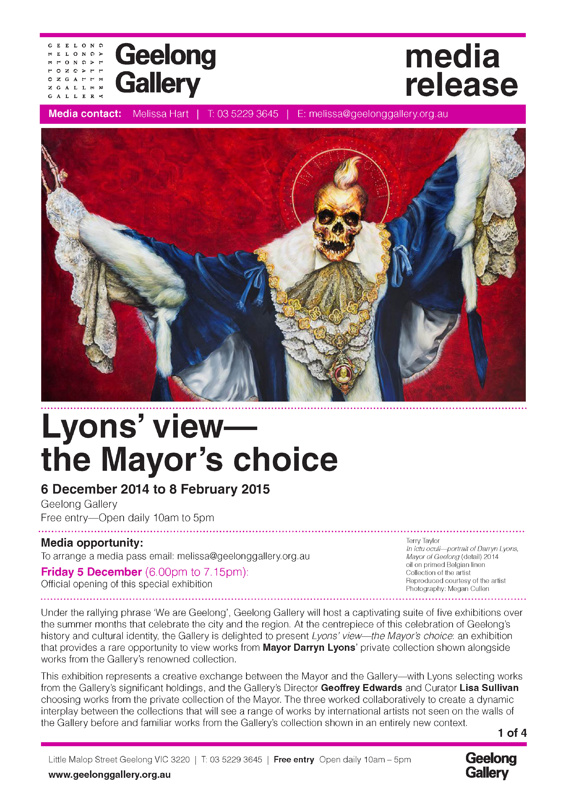 Media Release about Mayor Darryn Lyon's portrait