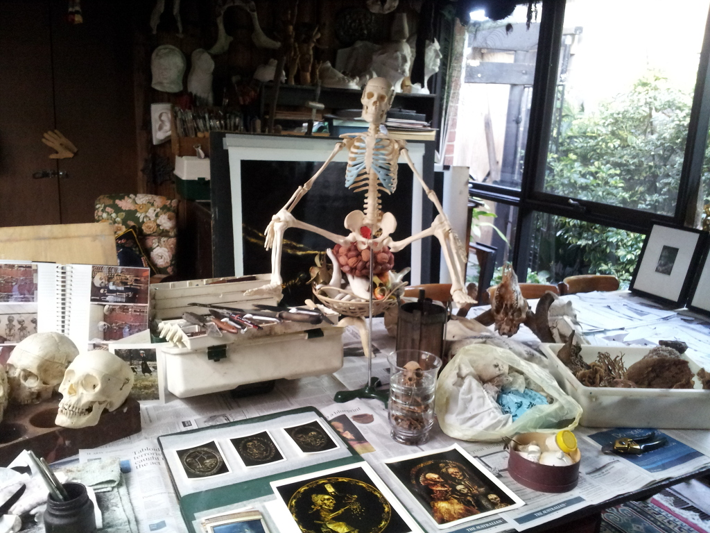 Terry Taylor's studio set up with inspiration and objects on the table