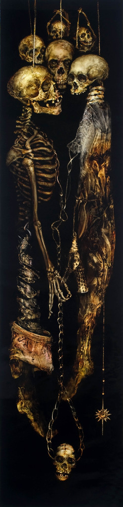 skeletons hanging by their head on black canvas