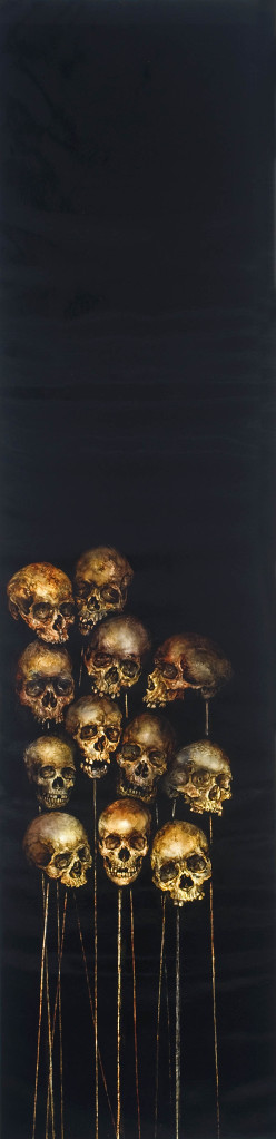 Skulls on black canvas