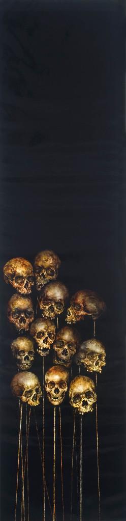 Skulls on black canvas