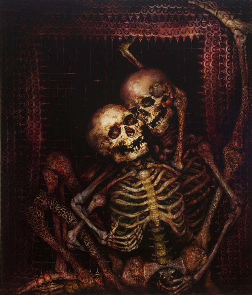 skeleton oil painting on canvas