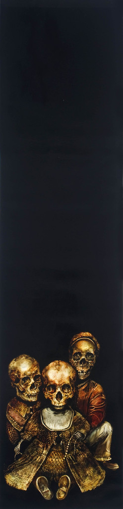 three skeletons sitting down on black canvas