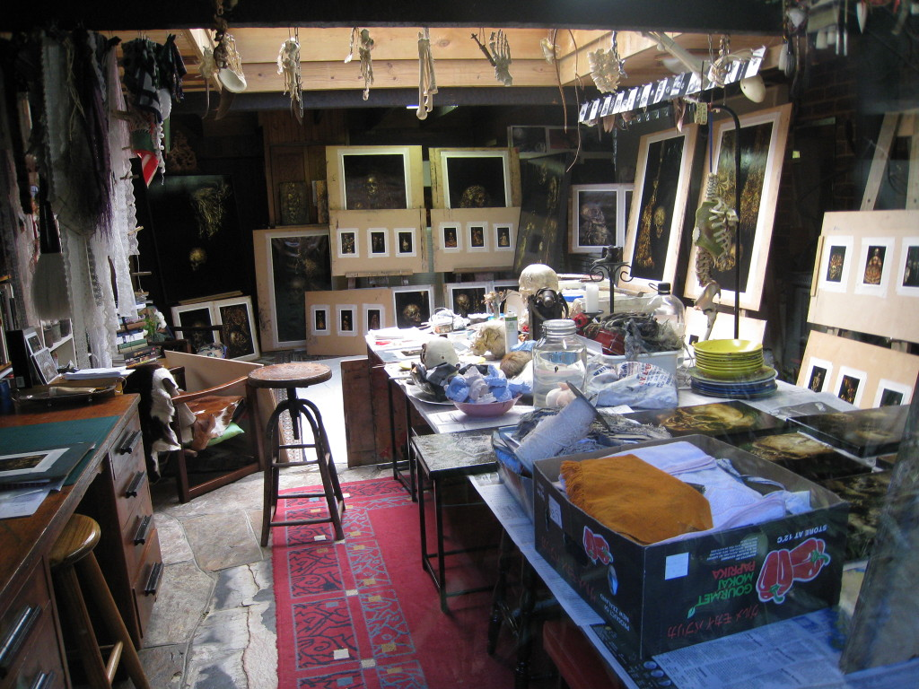 Terry Taylor's studio with skeleton, paint and objects on the table
