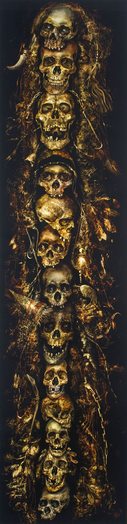 painting of skulls on on top of each other on black canvas