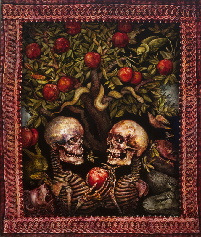 Terry Taylor's oil painting of Seven Deadly Sins which is two skeletons holding an apple