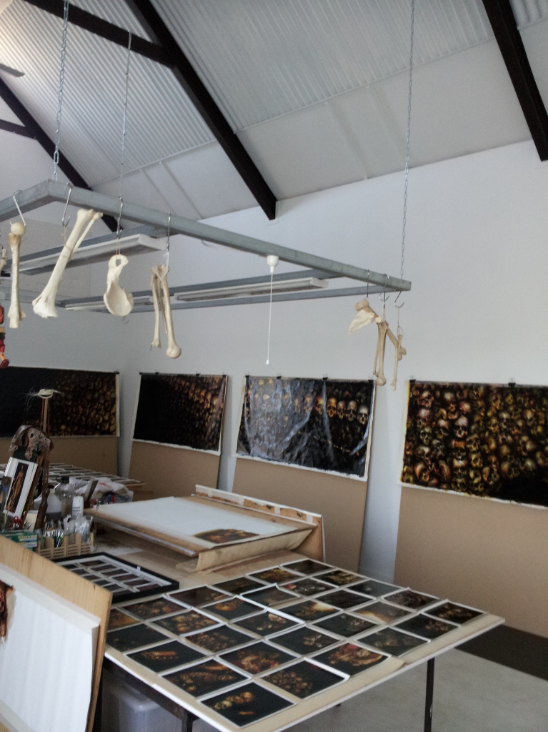 Terry Taylor's studio with bones hanging from centre