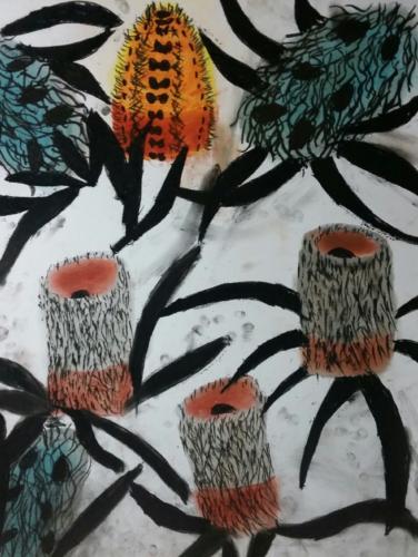 <span>Banskia Flowers Paint on Paper Age 7